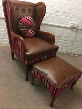 NEW Hand made Wing Back Chair And Footstool ( genuine leather And Velvet )