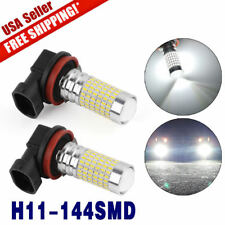 2x 6000K White LED H11 Bulbs High Power 144 SMD Projector Fog Driving DRL Light
