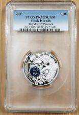 2017 COOK ISLANDS $10 PAVO CHRISTATUS Peacock Royal Delft Silver Coin PCGS PR70