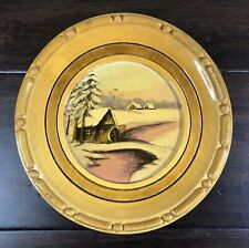Rustic Hand Painted Scenic Mill Wooden Plate Wall Hanging Arad Craftsmen Romania