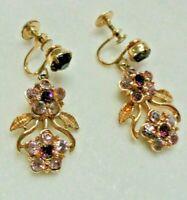Vintage CORO Lavender Purple Rhinestone Drop / Dangle Screw Gold-Tone Earrings