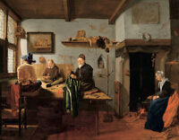 """oil painting handpainted on canvas""""Interior of a Tailor's Workshop""""NO8214"""