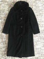 VTG 1960's Black Wool Mink Fur Collar Long Button Up Peacoat Medium