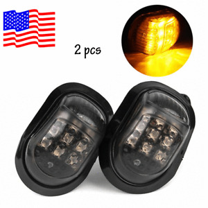 2x 12V Amber Motorcycle 9 LED Flush Mount Turn Signals Indicators Blinker Light