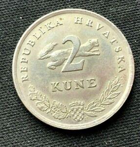 1993 Croatia 2 Kune Coin XF   Copper Nickel  World Coin    #K1611