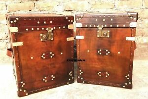 Pair Of Finest English Leather Antique Inspired Side Table Trunk Amazing Item