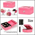 Small Metal Safe Cash Money Box With 2 Security Key Lock and Tray for Kids Pink