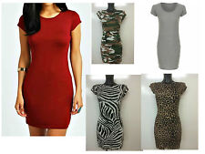 Ladies Womens Short CAP SLEEVE Bodycon MINi Tunic DRESS Long Top Plus Size Lot Z