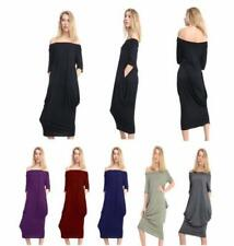 Viscose Long Sleeve Dresses for Women with Pockets