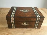 Victorian burr walnut sewing box with mother of pearl inlay -  lift-out tray