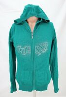 Guess Womens Hoodie Pull Over Sweater Full Zip Size L Large Long Sleeve Green