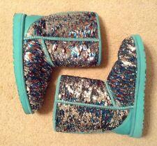 EUC! Women's Ugg Blue/Silver/Bronze Sequin Sheepskin Lined Boots Sz 9