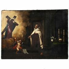 St. John of the Cross, large religious painting oil on canvas, Spain 17th -18th