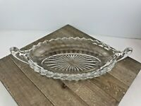 Vintage Fostoria American Clear Cube Glass Double Handle Boat Style Crystal Dish