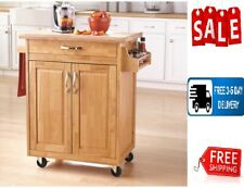 New listing Mainstays Kitchen Cart with Drawer, Spice Rack, Towel Bar, Butcher Block Top, Na