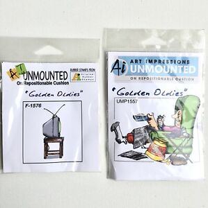 A Lot Of 2  Golden Oldies Ai Art Impressions Umounted Original Rubber Stamps NOS
