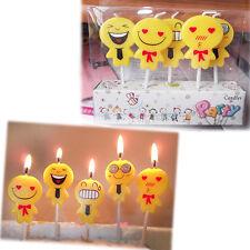 5pcs/set Cute Emoji Cake Candles Birthday Wedding Party Celebrations Supply
