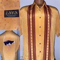 Vintage Zava Men's Ostrich Shirt Button Up Made in USA Mens L