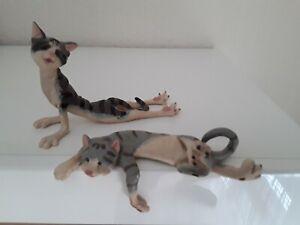Deko - Katzen Katzenfiguren als Kantenhocker, und Yoga Katze ca 16 cm lang