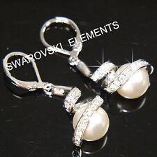 Pendientes de bisutería blancos de cristal de oro blanco