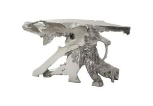 "55"" Long Freeform Console Table Silver Leaf Resin 554"