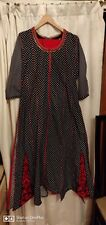 100% Chinese Cotton,Black &white Polka Dot WTH Red Beads&Embroidery 3 PieSet.L