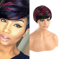 Fashion Women Short Wigs Black Red Mixed Boycut Wavy Synthetic Hair Party Wig