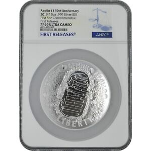 2019 Apollo 50th Anniv 5 Oz Proof Silver Coin NGC PF69 First Releases