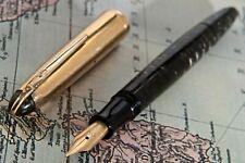 VINTAGE 1940S ANCORA CELLULOID GOLD GREY STRIPPED RARE 14K EXTRA FINE(EF) NIB ✒