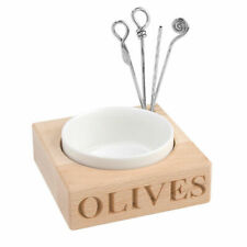Culinary Concepts Beech Wood Holder With Porcelain Dish & 4 Olive Picks