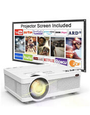 QKK Projector 6000 Lumens 1080P with Projection Screen Full HD Supported Theatre