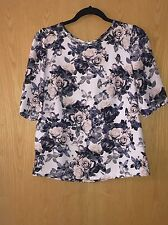 Miss Selfridge Floral Top White With Pastel Coloured Flowers Loose Fitting Sz 10