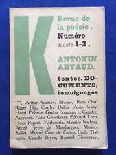 REVUE DE LA POESIE. NUMERO DOUBLE 1-2 - ANTONIN ARTAUD CONTRIBUTOR