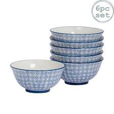 Porcelaine modelée céréales petit déjeuner bols, fleur bleue - 152mm x6