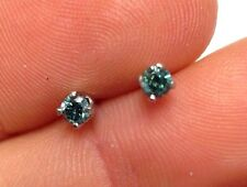 Fine .08CTW Natural Blue Diamond 14K White Gold Earring Studs