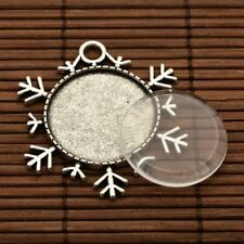 5set Vintage Silver Alloy Snowflake Pendant Transparent Glass Cabochon Settings