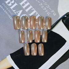 24pcs Gold Metal Long False Nails Square head Fashion Full Cover Nail Art Tips