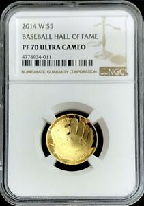 2014 W GOLD PROOF $5 BASEBALL HALL OF FAME COIN NGC PROOF 70 ULTRA CAMEO