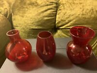 Vintage Mix Of 3 Different Shapes Ruby Red Cranberry Glass Favor Vases