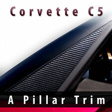 CHEVROLET CORVETTE C5 1997-2004 BLACK CARBON FIBER DECAL A PILLAR TRIM