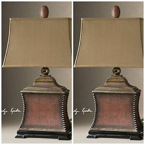 TWO AGED RED WOVEN TEXTURE TABLE LAMPS SILVER BEADS GOLD ACCENTS MODERN LIGHT