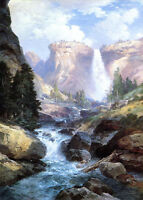 Huge art Oil painting Thomas Moran - Waterfall in Yosemite nice landscape canvas