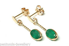 9ct Gold Emerald Oval Drop earrings Gift Boxed