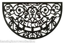 """DOOR MATS - CHELSEA GATE DEMILUNE RECYCLED RUBBER DOORMAT - 18"""" X 30"""" - WELCOME"""