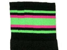 "25"" KNEE HIGH BLACK tube socks with NEON GREEN/HOT PINK stripes style 4 (25-59)"