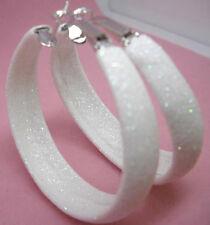 E1033 fashion white charm circle women hoop earrings dull polish noble jewelry