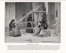 1897 Vittoriano Stampa ~ Cipro ~ Seta Filata TESSITURA TELAIO ~ PLUS testo descrittivo