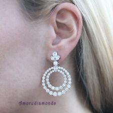 13.5 ct G VS round ideal cut & pear shape diamond circle earrings 18k white gold