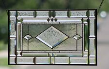 Contemporary Clear and Beveled Stained Glass Window Panel ,Hanging