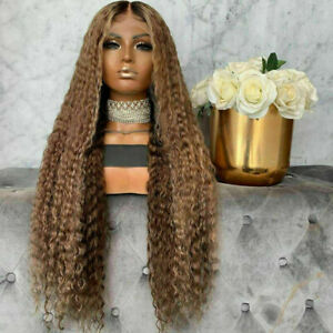 Luxury Lace Front Curly Wavy Light Brown Ombre Blonde Full Lace Human Hair Wig